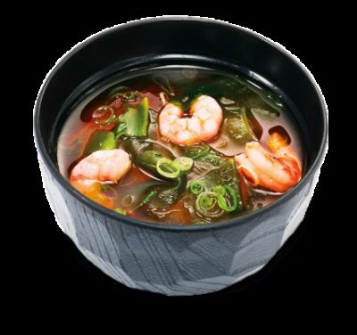 Мисо-суп с лапшой удон и креветками